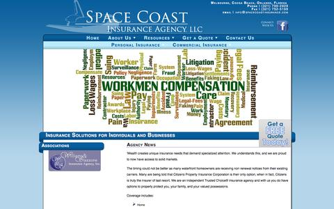 Screenshot of Press Page spacecoastinsurance.com - Agency News | Space Coast Insurance Agency, LLC | Insurance Solutions for Individuals and Businesses - captured Oct. 23, 2017