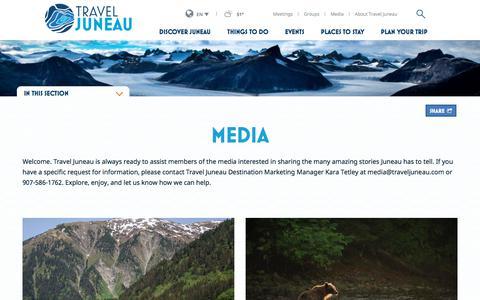 Screenshot of Press Page traveljuneau.com - Juneau Media  | Media Library, Media Kits & Contacts - captured Oct. 7, 2017