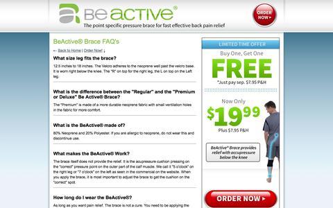 Screenshot of FAQ Page beactivebrace.com - Be Active | FAQ's - captured Oct. 29, 2014