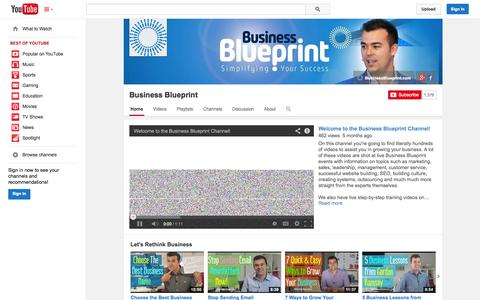 Screenshot of YouTube Page youtube.com - Business Blueprint  - YouTube - captured Oct. 23, 2014