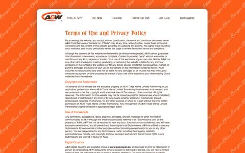 Screenshot of Terms Page aw.ca - A&W - captured Sept. 19, 2014