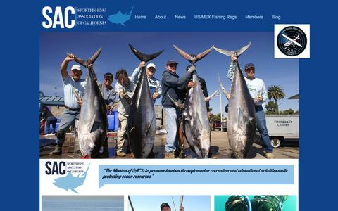 Screenshot of Home Page californiasportfishing.org - Sportfishing Association of California - captured Oct. 6, 2014