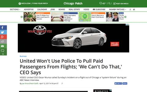Screenshot of patch.com - United Won't Use Police To Pull Paid Passengers From Flights; 'We Can't Do That,' CEO Says - Chicago, IL Patch - captured April 13, 2017