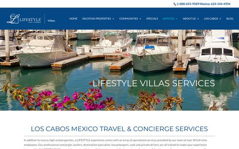 Screenshot of Services Page lifestylevillas.net - Cabo San Lucas in Villa & Concierge Services - Turnkey Experience - captured July 19, 2018