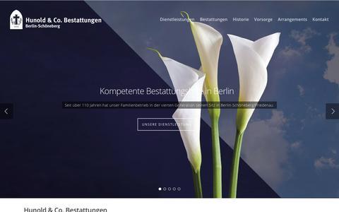 Screenshot of Home Page hunold-bestattungen.de - Hunold & Co. Bestattungenin Berlin-Schöneberg - captured June 9, 2016