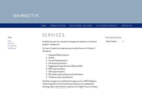 Screenshot of Services Page simbiotix.com - Services – SImbiotix Control Inc. - captured Dec. 19, 2016