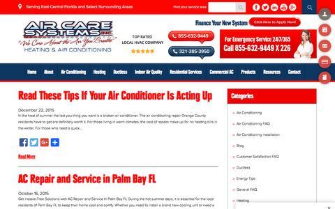 Screenshot of Blog aircaresystemsinc.com - Blog - Air Care Systems, Inc. - captured Feb. 5, 2016