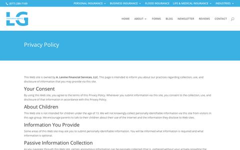Screenshot of Privacy Page alevinegroup.com - LG Insurance Agency Privacy Policy | NJ Insurance Company - captured July 9, 2017