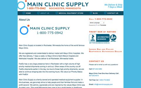 "Screenshot of About Page mainclinicsupply.com - ""About Us"" Main Clinic Supply - captured July 8, 2018"