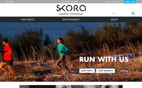 Screenshot of Home Page skorarunning.com - SKORA   Premium Running Footwear for Natural Movement - captured Jan. 12, 2016