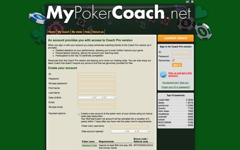 Screenshot of Signup Page mypokercoach.net - MyPokerCoach.net - Create your account with our Poker school - captured Oct. 7, 2014