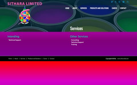 Screenshot of Services Page sitharaltd.com captured Aug. 13, 2016