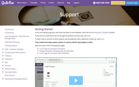 Screenshot of Support Page quikflw.com - Quikflw Help | Support | Quikflw - captured Nov. 14, 2018
