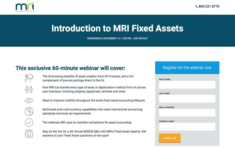 Introduction to MRI Fixed Assets