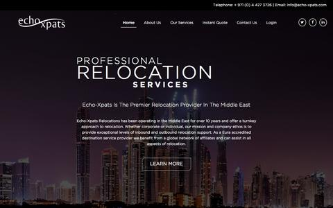 Screenshot of Home Page echo-xpats.com - Corporate Relocation Specialist Company in Dubai UAE   Dubai Relocation Services - captured May 14, 2017