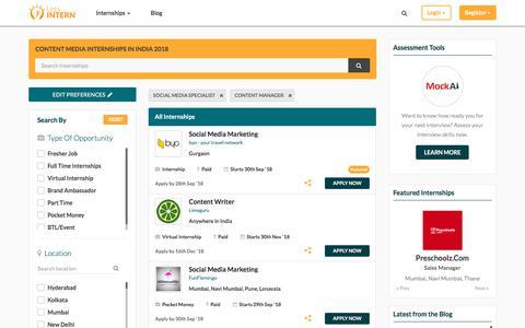 Screenshot of Press Page letsintern.com - Media Internships In India | Media Internships 2018 - Letsintern - captured Sept. 21, 2018