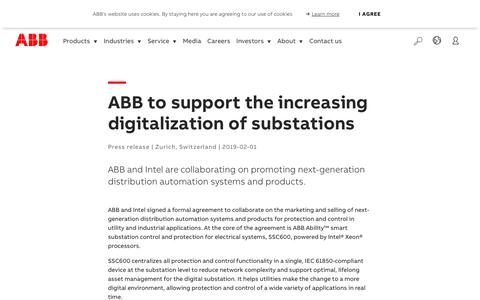 Screenshot of Support Page abb.com - ABB to support the increasing  digitalization of substations - captured Nov. 9, 2019