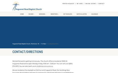 Screenshot of Contact Page Maps & Directions Page hrbcrichmond.org - Huguenot Road Baptist Church, Richmond, VA   –  Contact/Directions - captured Sept. 30, 2018
