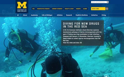 Screenshot of Home Page umich.edu - University of Michigan - captured Jan. 15, 2015