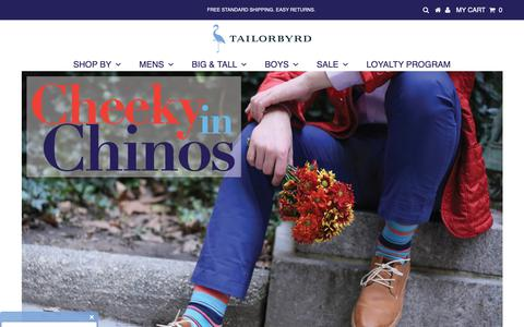Screenshot of Home Page tailorbyrd.com - Shop Clothing for Men: Shirts, Blazers, Sweaters, Polos, Big & Tall – TailorByrd - captured Nov. 7, 2018