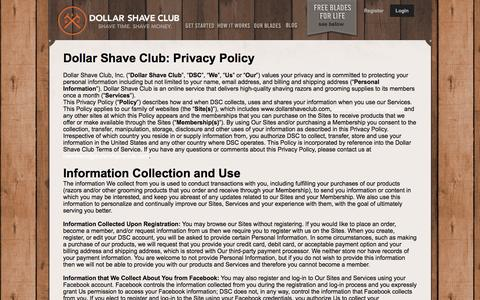 Screenshot of Privacy Page dollarshaveclub.com - Privacy Policy - captured March 30, 2016