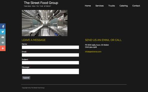 Screenshot of Contact Page streetfoodgroup.com - Contact us to get started - captured Oct. 2, 2014