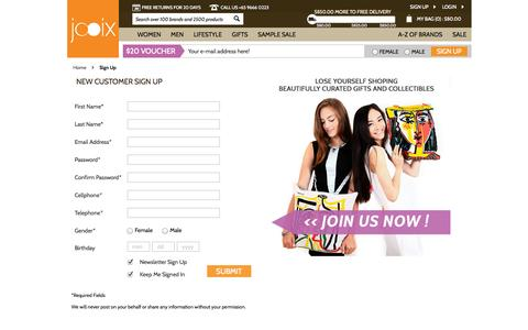 Screenshot of Signup Page jooix.com - Jooix |  Create New Customer Account - captured Sept. 16, 2014
