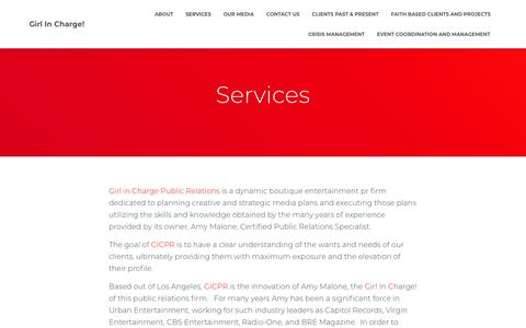 Screenshot of Services Page gicpublicrelations.net - Services – Girl In Charge! - captured Nov. 10, 2018