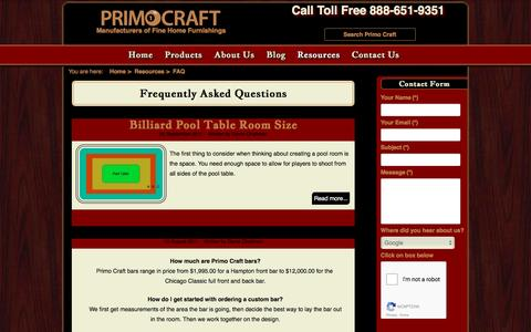 Screenshot of FAQ Page primocraft.com - Frequently Asked Questions for Primo Craft Primo Craft   Blaine Minnesota - captured Nov. 13, 2016