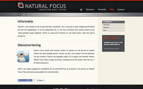 Screenshot of FAQ Page naturalfocus.nl - Informatie | Natural Focus | Webdesign | Grafische vormgeving | Friesland | Grou - captured Sept. 30, 2014