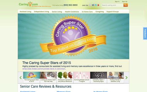 Screenshot of Home Page caring.com - Senior Care: Housing, Home Care, Community, Articles - captured July 3, 2015