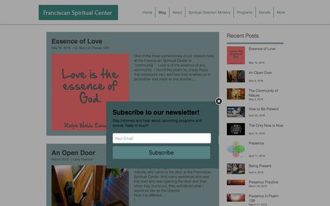 Screenshot of Blog francisspctr.com - Franciscan Spiritual Center | Blog - captured Oct. 11, 2018