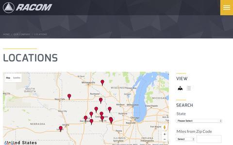 Screenshot of Locations Page racom.net - Locations | RACOM - captured Dec. 19, 2016