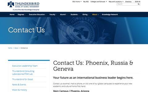 Screenshot of Contact Page asu.edu - Contact Us: Phoenix, Russia & Geneva | Thunderbird School of Global Management - captured Oct. 14, 2017
