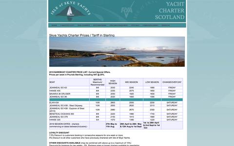 Screenshot of Pricing Page skyeyachts.co.uk - Charter Prices and Tariff - captured Feb. 15, 2016