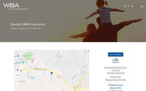Screenshot of Contact Page wba-ins.com - Contact - WBA Insurance - captured Oct. 18, 2018