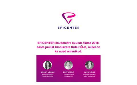 Screenshot of Home Page epicenter.ee captured Sept. 28, 2018