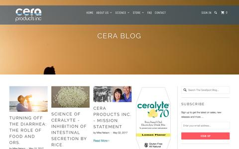 Screenshot of Press Page ceraproductsinc.com - The CeraSport Blog - Cera Products Inc - captured May 15, 2017