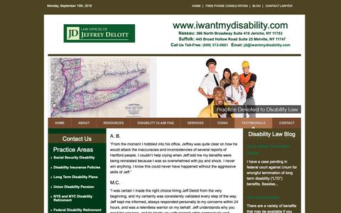 Screenshot of Testimonials Page iwantmydisability.com - New York Disability Lawyer Law Offices of Jeffrey Delott Law Offices of Jeffrey Delott - captured Sept. 27, 2018
