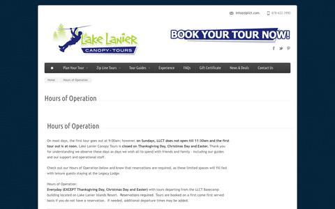 Screenshot of Hours Page lakelaniercanopytours.com - Hours of Operation - Lake Lanier Canopy Tours - captured July 15, 2018