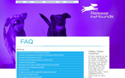 Screenshot of FAQ Page releasethehounds.ca - RTH Vancouver: Frequently Asked Questions - captured Oct. 26, 2014