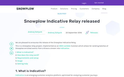Screenshot of Blog snowplowanalytics.com - Snowplow Indicative Relay released - captured Feb. 10, 2020