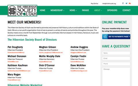 Screenshot of About Page irishinutah.org - Meet our members! - Hibernian Society of Utah - captured April 9, 2017