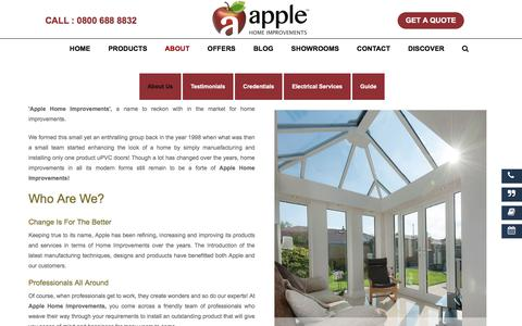 Screenshot of About Page Testimonials Page applehomeimprovements.co.uk - Apple Home Improvements: Who Are We? What Do We Do? - captured April 26, 2018