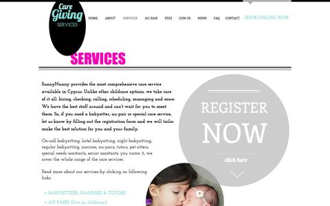 Screenshot of Services Page sunnynanny.com - Babysitting and nanny sevices | CYPRUS - captured March 7, 2017