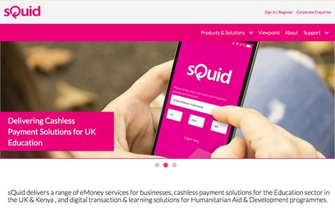 Screenshot of Home Page squidcard.com - sQuid: Digital Transactions | Cashless Payments | Learning Solutions - captured Oct. 29, 2015