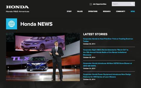 Screenshot of Press Page hondaresearch.com - News - Honda R&D Americas, Inc. - captured Nov. 2, 2014
