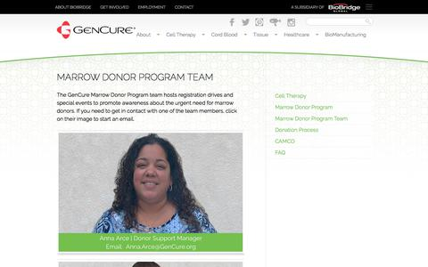 Screenshot of Team Page gencure.org - Marrow Donor Program Team | GenCure - captured July 17, 2018