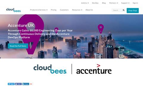 Screenshot of Case Studies Page cloudbees.com - Accenture Gains 10,000 Engineering Days per Year Through Continuous Delivery and the Accenture DevOps Platform | CloudBees - captured Aug. 8, 2018