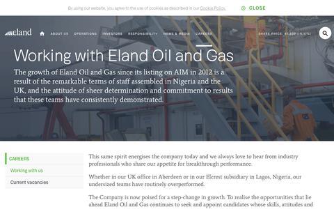Screenshot of Jobs Page elandoilandgas.com - Working with us   Eland Oil & Gas - captured Oct. 25, 2018